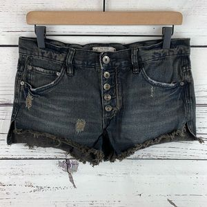 Free People Black Button Fly Denim Shorts